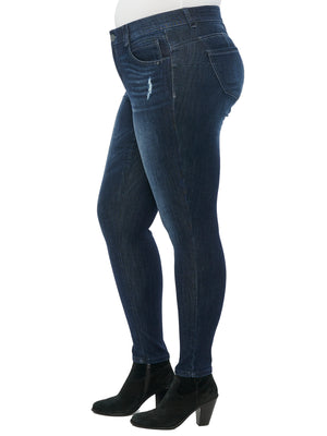 """Ab""solution Booty Lift Distressed Indigo Plus Jegging"