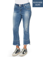 "Plus ""Ab""solution Kick Flare Fray Hem Jean"