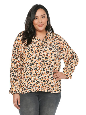 Load image into Gallery viewer, Long Sleeve Mock Zip Neck Leopard Animal Print Plus Size Blouse Top