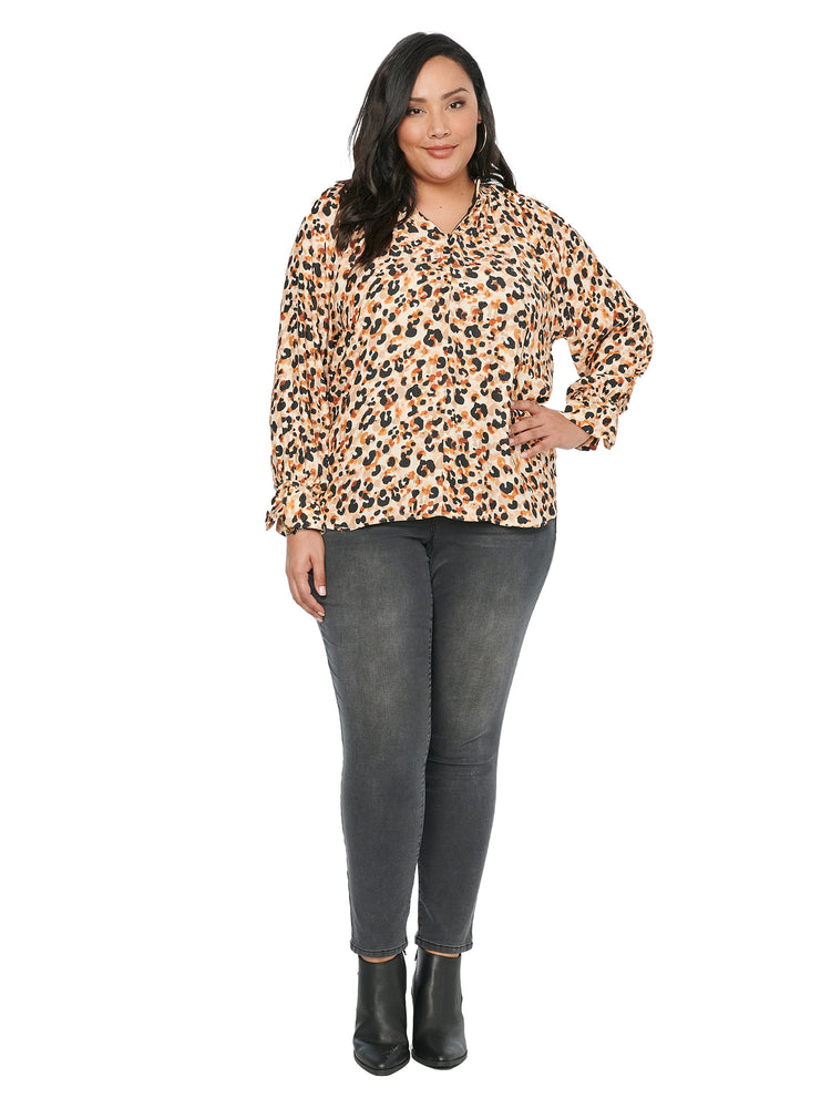 Long Sleeve Mock Zip Neck Leopard Print Plus Top