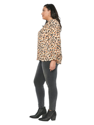 Load image into Gallery viewer, Long Sleeve Mock Zip Neck Leopard Print Plus Top