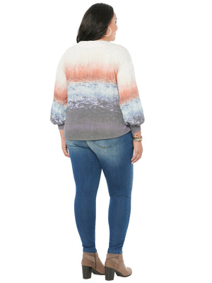 Load image into Gallery viewer, Blouson Long Sleeve Boatneck Print Plus Knit Top