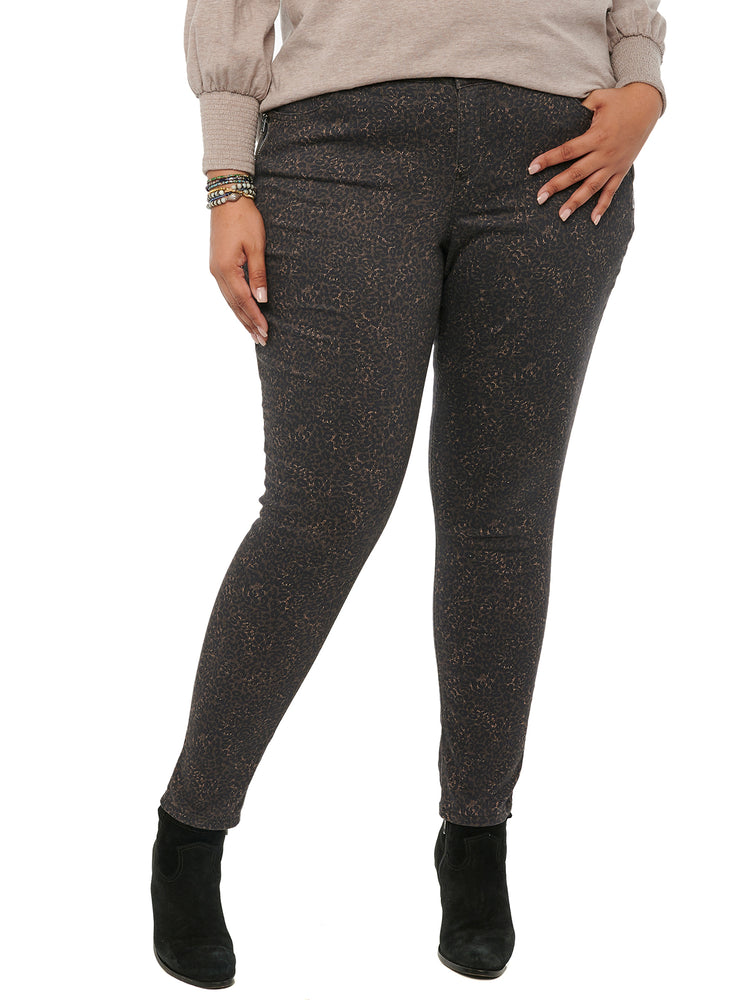 Absolution Side Zip Leopard Animal Print Colored Jegging Plus Size