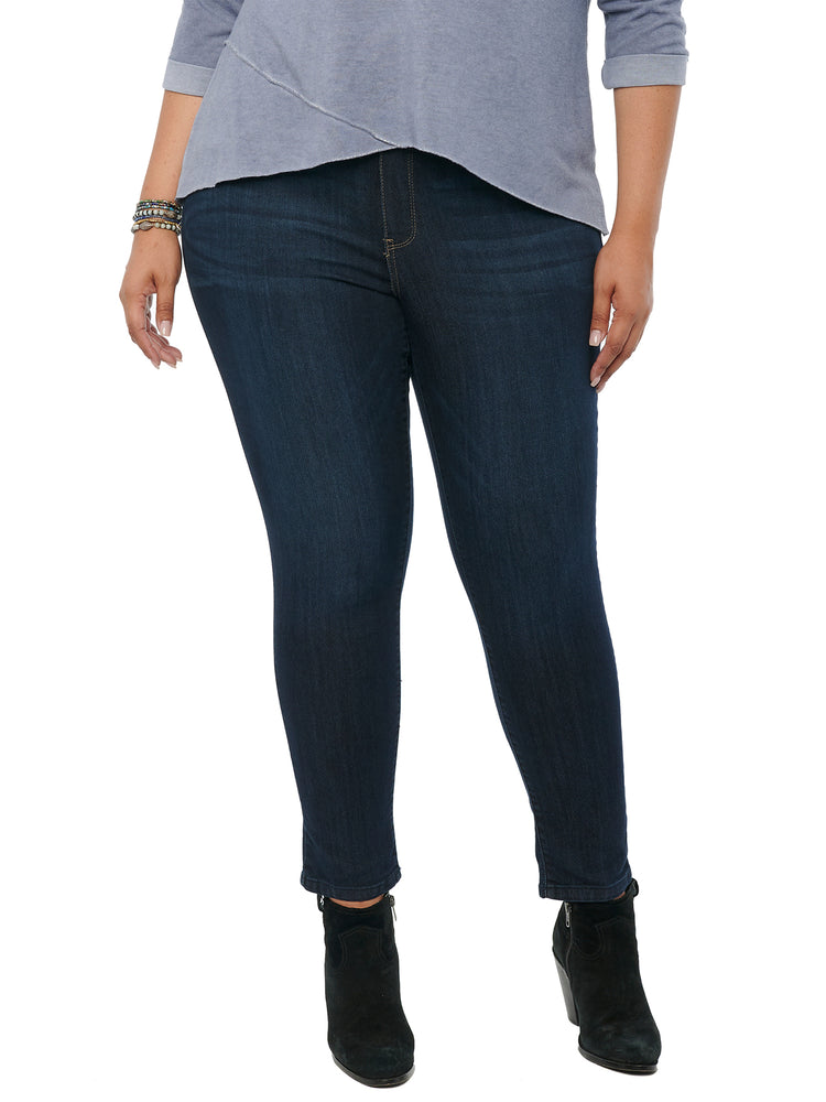 """Ab""solution Ankle Length Plus Size Stretch Indigo Denim Glider Pull On Skinny Jegging Jeans"