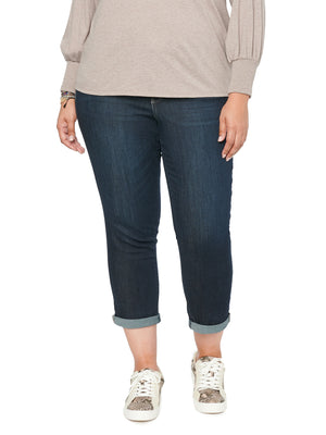 "Plus Size ""Ab""solution Ankle Skimmer Stretch Denim Rolled Cuff Indigo Wash Ankle Length Skinny Jeans"