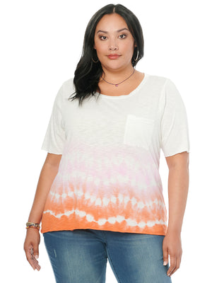 Womens Plus Size Fashion Knit Pocket Tee Shirt Scoop Neck Shark Bite Ombre Tie Dye Top Pink Rouge Paradise Orange