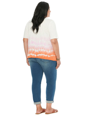 Load image into Gallery viewer, Elbow Sleeve Scoop Neck Ombre Plus Tee Shirt