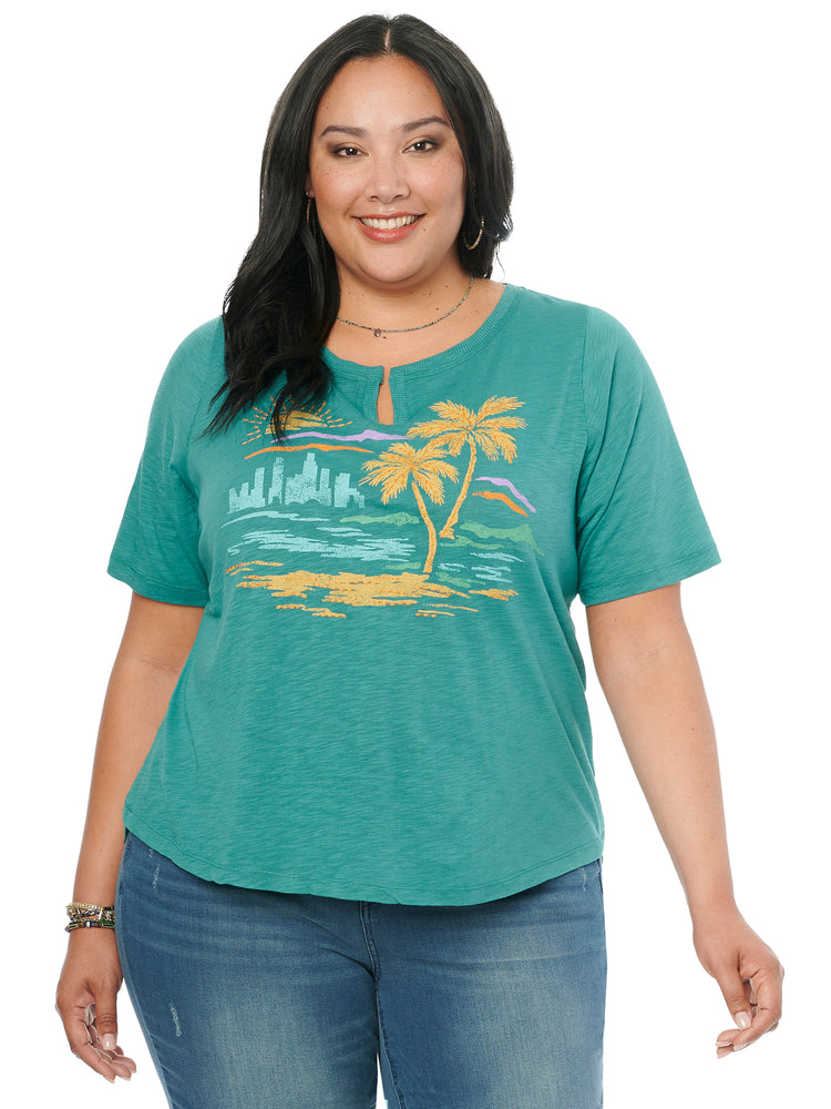 Elbow Sleeve Notch Neck Tropical Beach Graphic Plus Tee Shirt