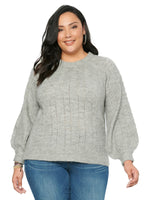 Long Sleeve Ruffle Mock Neck Pointelle Plus Grey Sweater