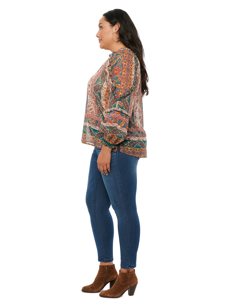 Bohemian Floral Long Sleeve Plus Woven Blouse