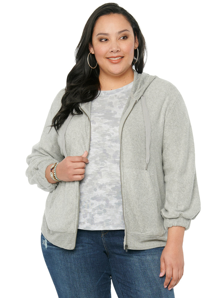 Blouson Long Sleeve Heather Grey Plus Zip Hoody Sweatshirt