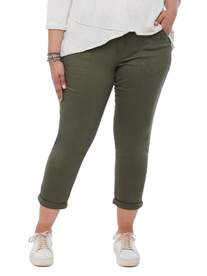 Ab solution High Rise Studded Pocket Plus Size Utility Pant Caper Dark Olive Green