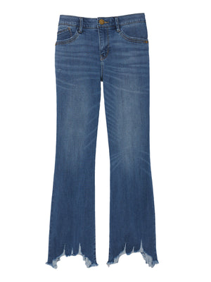Absolution Artisanal Blue Luxe Touch Plus Size Stretch Denim Chewed Hem Kick Flare Jeans