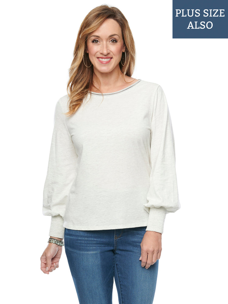 Blouson Long Sleeve Scoop Neck Plus Off White Knit Top