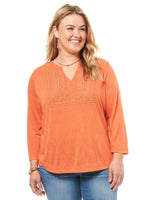 Mandarin Neck Mixed Lace Yoke Plus Top