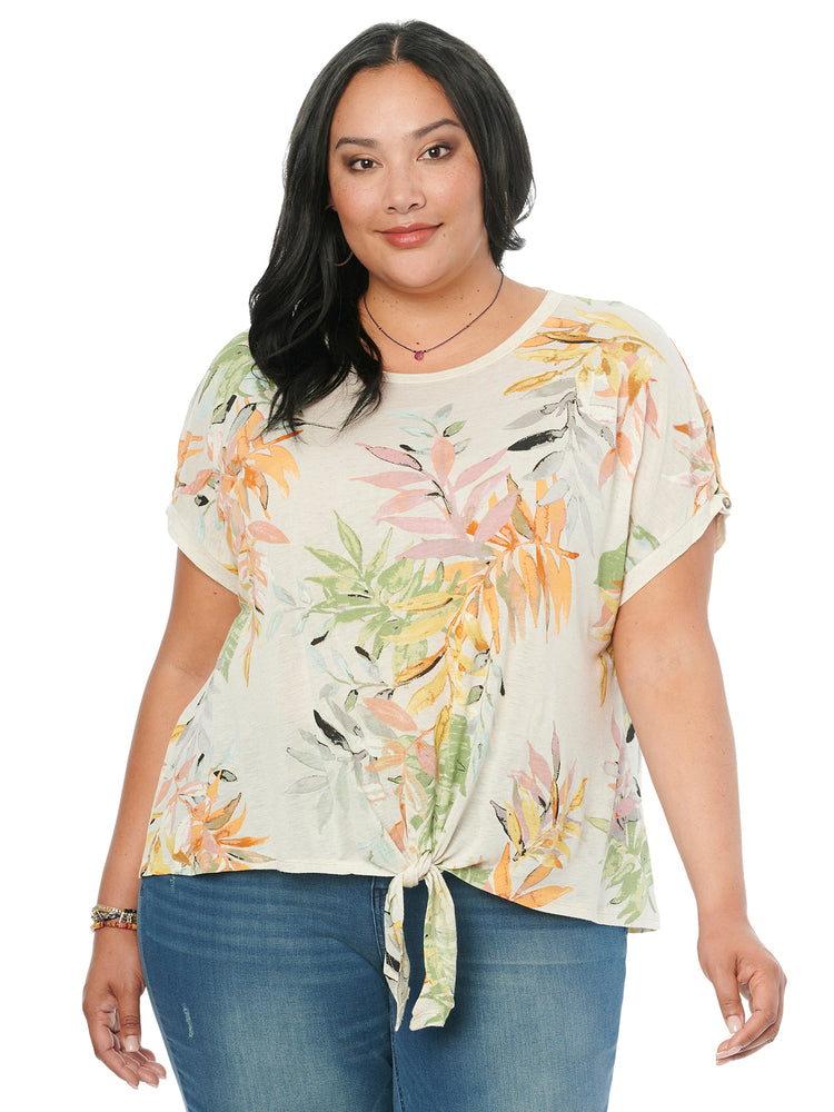 Short Sleeve Scoop Neck Tropical Leaf Print Plus Knit Top