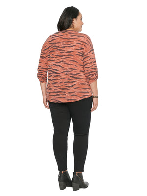 3/4 Tab Sleeve Animal Print Metallic Plus Knit Top