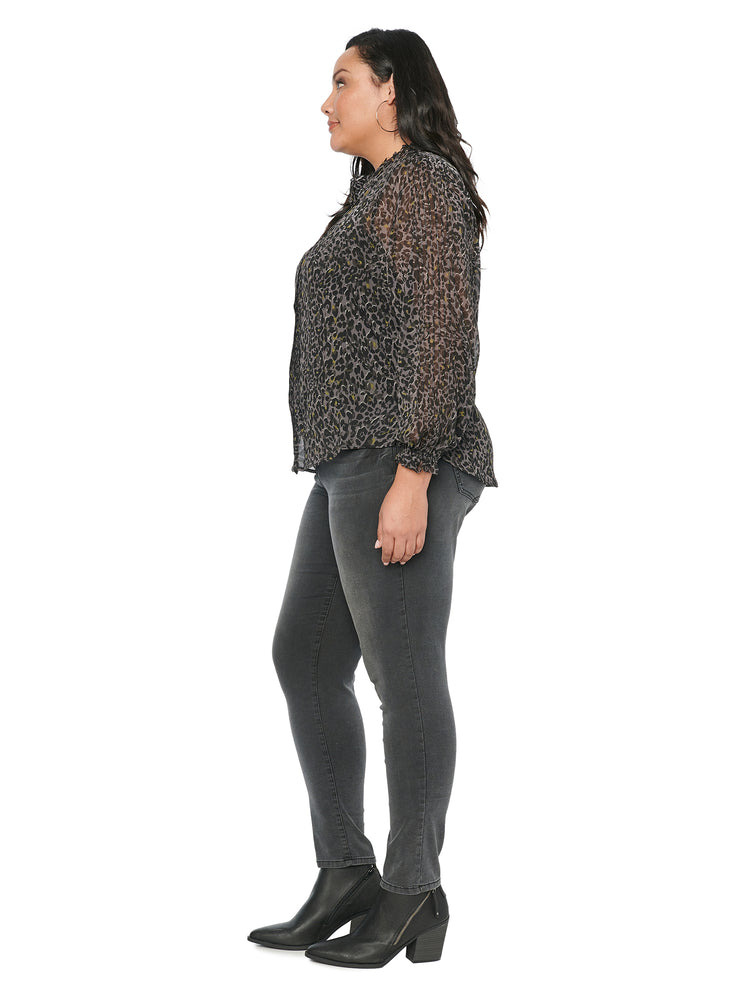 Load image into Gallery viewer, Blouson Long Sleeve Animal Print Chiffon Plus Blouse