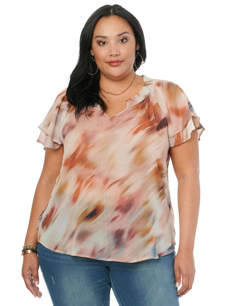 Womens woven chiffon plus size fashion top watercolor flutter sleeve blouse