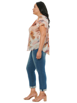 Load image into Gallery viewer, Flutter Short Sleeve Watercolor Print Plus Woven Top