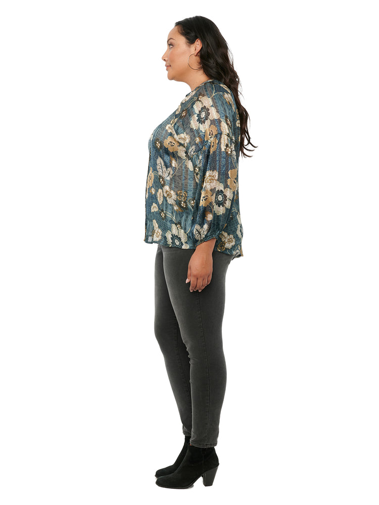 Load image into Gallery viewer, Blouson Long Sleeve Floral Woven Plus Top