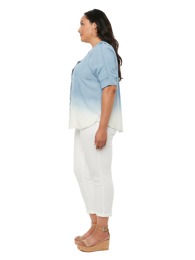 Dip Dye Ruched Sleeve Woven Top