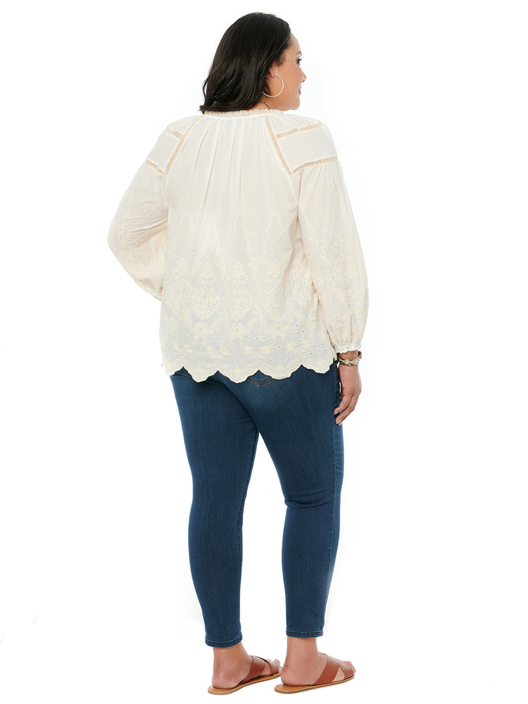 Blouson Long Sleeve Off White Embroidery Plus Woven Top