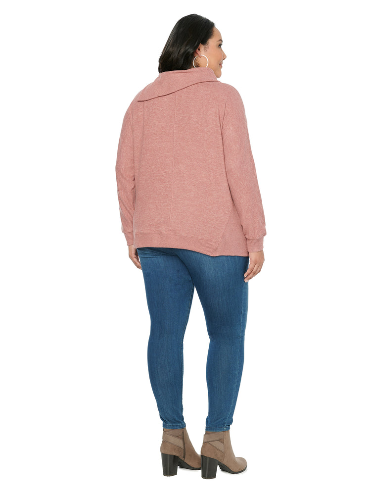 Load image into Gallery viewer, Blouson Long Sleeve Split Neck Plus Knit Top