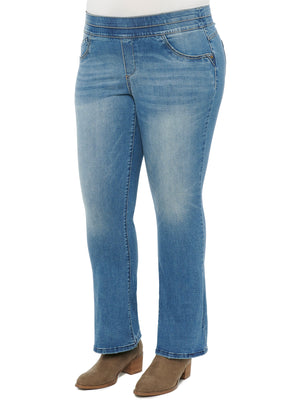Absolution Plus Size High Waisted Itty Bitty Boot Leg Glider Pull On Stretch Denim High Rise Jeans