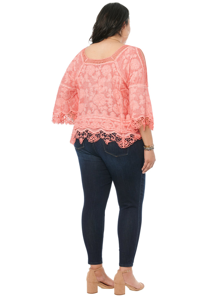 Cold Shoulder 3/4 Sleeve Square Neck Crochet Woven Top