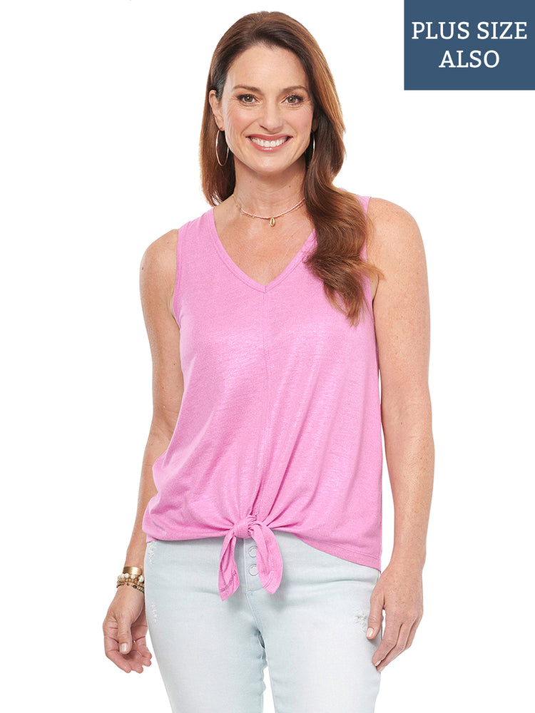 Sleeveless V Neck Tie Front Knit Top