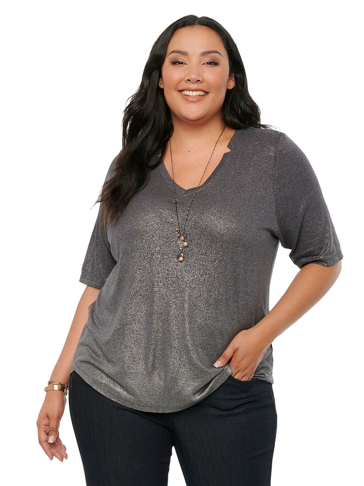 Elbow Sleeve V Neck Shimmer Foil Charcoal Plus Tee