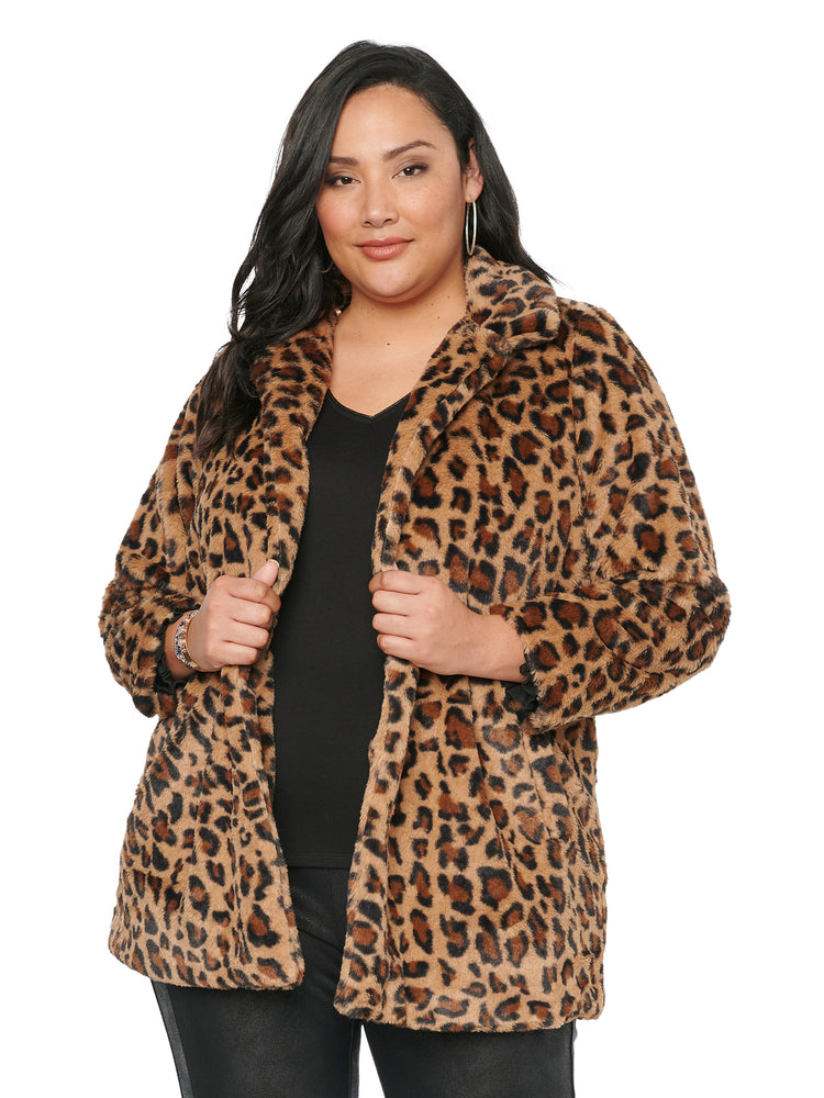 Faux Leopard Fur Mid Length Plus Coat