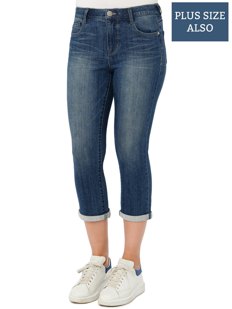 Load image into Gallery viewer, Absolution High Rise Modern Cropped Stretch Denim Blue Plus Size Jeans