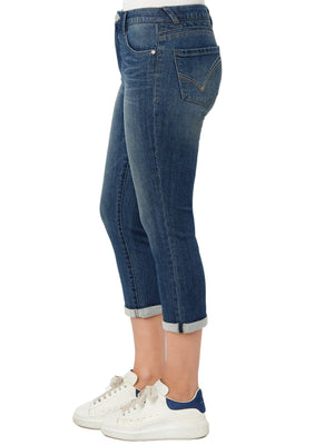 """Ab""solution High Rise Embroidered Pocket Plus Crop Jeans"