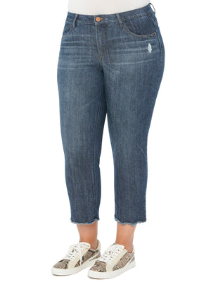 """Ab""solution Distressed Blue Denim High Waisted Slim Straight Stretch Denim Plus Size Cropped Jeans Scallop Frayed Hem"