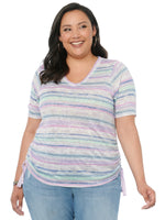 Elbow Sleeve V Neck Side Ruched Stripe Plus Knit Tee Shirt