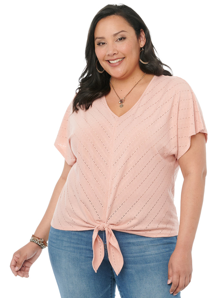 Flattering Tie Front Mitered Pointelle Stitch Womens Plus Size Fashion Top Dusty Pink V Neck Kimono Elbow Sleeve Spandex Jersey Knit Tshirt