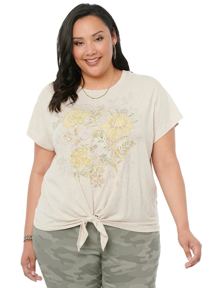 Short Sleeve Scoop Neck Floral Screen Jersey Plus Knit Tee Shirt