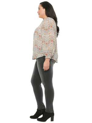 Blouson Pleat Long Sleeve Art Nouveau Print Plus Woven Top