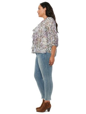 Ruffle Front Snake Print Plus Woven Top