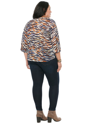 3/4 Sleeve Half Placket Animal Print Plus Woven Top