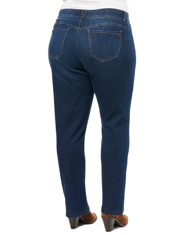 "Stretch Denim ""Ab""solution® Straight Leg Plus Indigo Jeans"