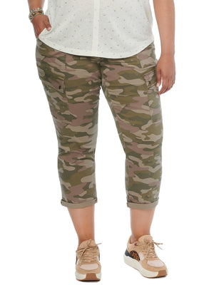 Absolution Stretch Camouflage Roll Cuff Plus Size Utility Pants Smokey Caper Camo Green
