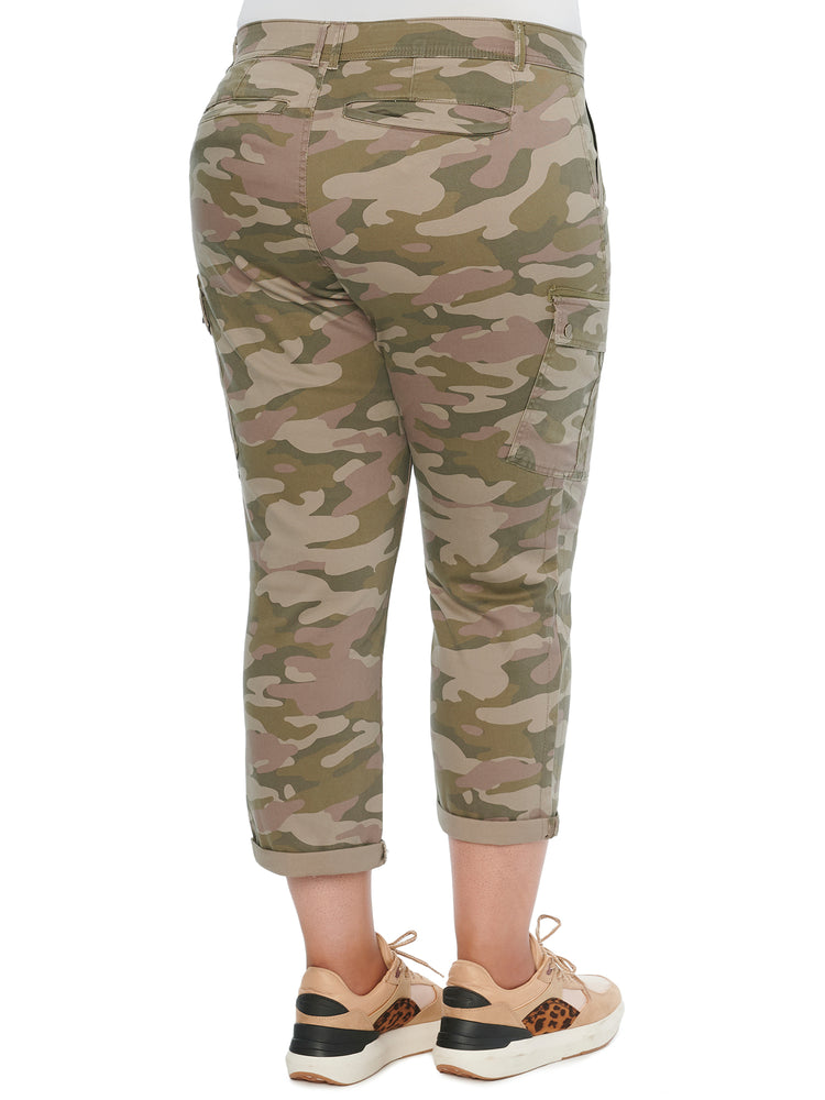 """Ab""solution Roll Cuff Green Camo Plus Cargo Utility Pants"