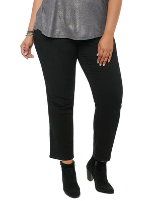 Absolution Plus Size Black Stretch Denim Straight Leg Jeans