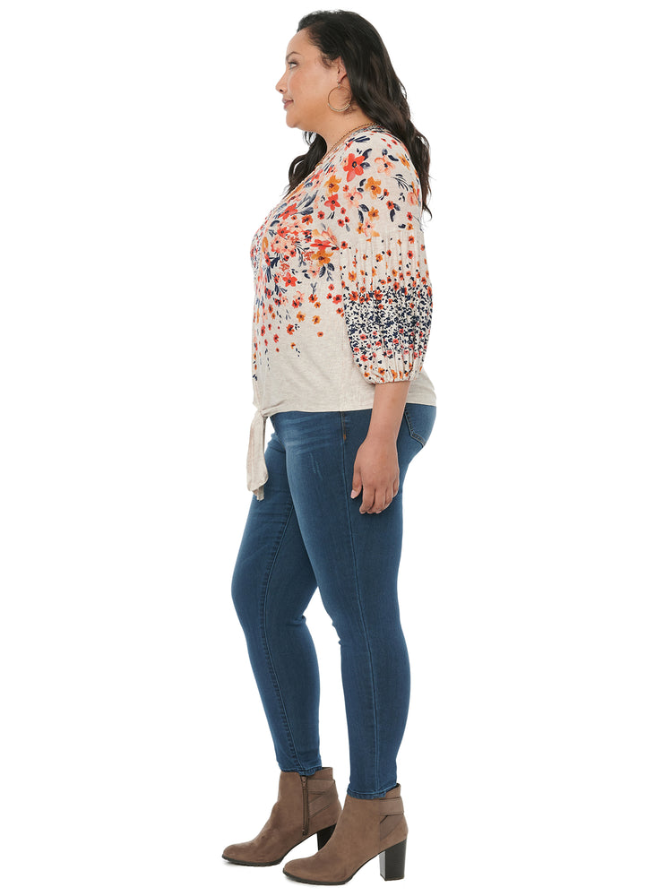 Load image into Gallery viewer, 3/4 Blouson Sleeve Floral Animal Print Plus Knit Top