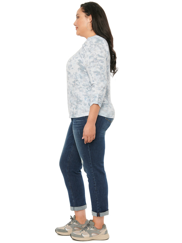 Load image into Gallery viewer, 3/4 Puff Sleeve Scoop Neck Printed Plus Knit Top