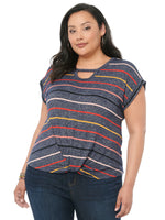 Cap Sleeve Cut Out Scoop Neck Multi-Color Stripe Plus Tee