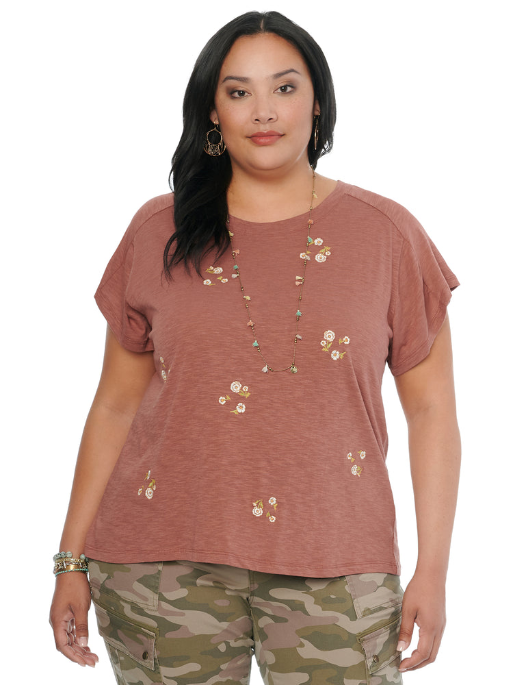 Short Sleeve Floral Embroidered Plus Tee Shirt